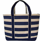 Extra Large Navy Striped Canvas Shopping, Baby, Beach Bag, Boat Tote