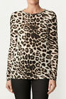 KITX Designer Top Label Leopard Womens Ladies 100% Organic Size 8 + Long Sleeve