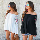 Women's Off-Shoulder Casual Floral Long Sleeve Shirt Blouse Loose T-shirt Tops