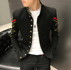 Men Stand Collar Jacket Nightclub Bar Embroidery Performance Costume Coats E459