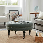 Tufted Ottoman Round Room Indoor Home Decor Seating Coffee Table (Gray / Beige)