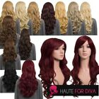 Ladies Long Synthetic Curly Wig Hair Peice Bangs Layered Quality Heat Resistant