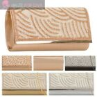 NEW DIAMANTE PATTERNED METAL TRIM CHAIN STRAP ELEGANT PARTY EVENING CLUTCH BAG