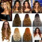 LADIES NEW LONG CURLY SYNTHETIC HAIR OMBRE MIDDLE PARTING FULL HEAD WIG