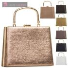 LADIES NEW TOP HANDLE FAUX LEATHER GLITTER FINISH METAL FRAME PARTY HANDBAG