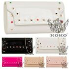 NEW WOMENS PATENT LEATHER CHAIN STRAP BEADED STUDDED PARTY EVENING HANDBAG
