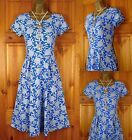 NEW EX SEASALT RIVIERA BLUE IVORY FLORAL ORGANIC COTTON JERSEY TEA DRESS UK 8-18