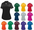 LADIES JOHNNY COLLAR, TWO TONE, SHORT SLEEVE, WICKING POLO, LIGHTWEIGHT, S-2XL