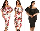 Womans Floral Layered Ruffle Off Shoulder Midi Bardot Dress Plus Size 16 18 20
