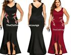 Long Floral Rose Embroidered Mermaid Fishtail Party Gown Dress Plus Size 16-22