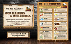 Food Allergen/ allergy Poster, training and customer display, (Brown) Laminated
