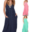 Hot Sale Women Summer Strappy Polka Dot Casual Loose Long Maxi Boho Dress S-5XL