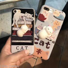 3D Novetly Squishy Lazy Cat Soft Silicone Back Case Cover for iPhone 6/6s/7 Plus