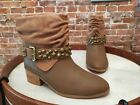 Twiggy London Camel Brown Leather & Suede Ruched Ankle Boot New