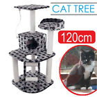 Cat Scratching Post Tree House Scratcher Pole Toy Multi Level Medium 120cm Grey
