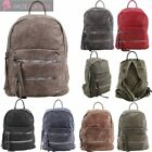 WOMENS NEW FAUX LEATHER DOUBLE ZIP FRONT POCKET SCHOOL COLLEGE BACKPACK