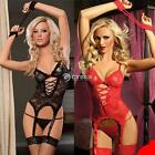 Women's Sexy Lace Lingerie Dress Underwear Sleepwear+G-string+Handcuff