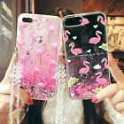 For Samsung S8/S8+/S7 Cute Flamingo Bling Liquid Giltter Soft Case Cover & Strap