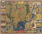 1920 Pictorial Map New Haven Connecticut Yale Hictoric Vintage Wall Art Poster