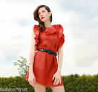 H&M Conscious Collection Ruffled A-Line Lyocell Mix Dress Orange Red UK 16 EU 42