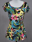 ETCETERA COLORFUL JERSEY KNIT SPLIT SHOULDER SHIRT TOP size M / L NEW $175