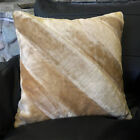"17"" (43cm) Faux Camel Fur Two Toned Striped Filled Soft Cushion Cover Home Décor"