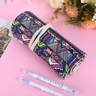 Retro Canvas Roll Up Holder Makeup Pencil Pen Case Bag Wrap Curtain Sketch Pouch