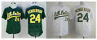 Rickey Henderson 24 Oakland Athletics As Baseball Men Adult Jersey Throwback