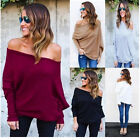 Womens Batwing One Off Shoulder Top Ladies Baggy Long Sleeve T-Shirt Cotton Tops