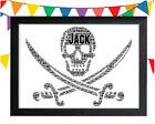 PERSONALISED Pirate Word Art Wall Print Gift Idea Skull Sword Flag Fun Bad Sea