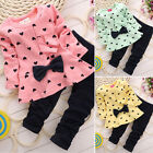 2pcs Kids Girl Baby Outfits Set Bowknot Tops T-shirt Dress Pants Toddler Clothes