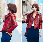 Womens Leather Lapel Coats Motorcycle Jackets Slim Korean Outwear Retro Punk L77