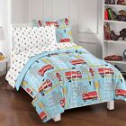 Twin Full Bed Bag Red White Blue Firefighter Fire Truck 7...