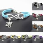 Beach Lovely Animals Small Cute Silver Sea Turtle Love Infinity Leather Bracelet