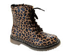 GIRLS LEOPARD PRINT EYELET LACE UP WALKING ANKLE BOOTS SHOES KIDS UK SIZE 13-6