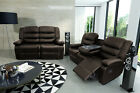 New Valencia Brown Bonded Luxury Leather Recliner Sofa With Drinks Holder