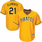 Mens Pittsburgh Pirates Roberto Clemente no21 gold cool base jersey M 3XL