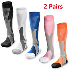 2 Pairs 30-40 mmhg Sports Knee High Compression Socks for Running, Fitness