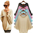 oversized tees for women - US Women Plus Autumn Oversized Batwing Knitted Pullover Loose Sweater Shirt Tee