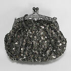 Evening Bag Purse Sequins Beaded Multi Colors Vintage Look Party Prom - P736