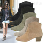 AnnaKastle Womens Genuine Suede Leather Western-Inspired Ankle Boots Bootie