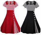 Women's Striped Vintage Style Retro Cocktail Party Swing Skater Dress