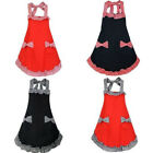 Vintage Stylish Christmas Cute Flounce And Bow-knot Check Apron For Women