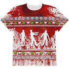 Ugly Christmas Sweater Bloody Zombie Attack Survivor All Over Youth T Shirt