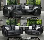 Henry Electric Recliner Corner RHF LHF Black Leather Sofa 3 + 2 Seater Set
