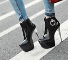 Womens High Platform Heels Ankle Riding Boots Zip Side Party Dance Shoe HOT A504