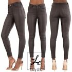 Women Black High Waist Leather Look Ladies Skinny Fit Stretch Trousers Size 6-14