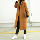 Womens Ladies Trench Overcoat Wool Blend Long Coat Outwear Jacket Loose Retro M1