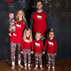 Moose Christmas Family Pajamas Set Xmas Adult Women Kids Sleepwear Nightwear Red