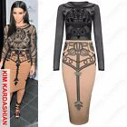 NEW LADIES BLACK MESH FLOCK TOP SKULL BODYCON DRESS WOMENS MIDI PENCIL DRESSES